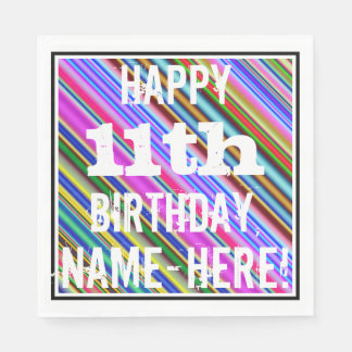 Vibrant, Colorful 11th Birthday + Custom Name Disposable Napkin
