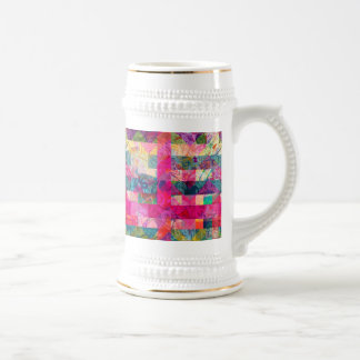 Vibrant Colorful Abstract Pink Plaid Funky Pattern Beer Steins