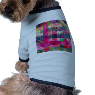 Vibrant Colorful Abstract Pink Plaid Funky Pattern Doggie Tshirt