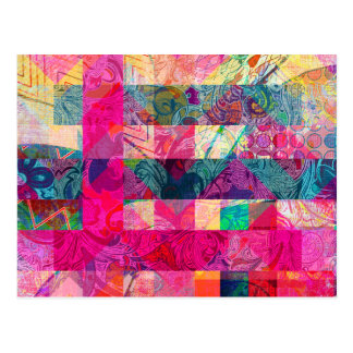 Vibrant Colorful Abstract Pink Plaid Funky Pattern Postcard