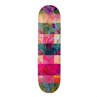 Vibrant Colorful Abstract Pink Plaid Funky Pattern Skateboard Deck