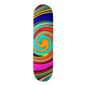 Vibrant Colorful Abstract Swirl of Melted Crayons Skateboard Deck