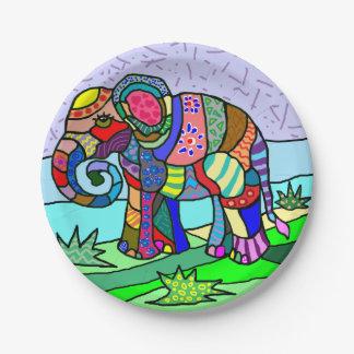 Vibrant colorful artistic folk art elephant paper plate