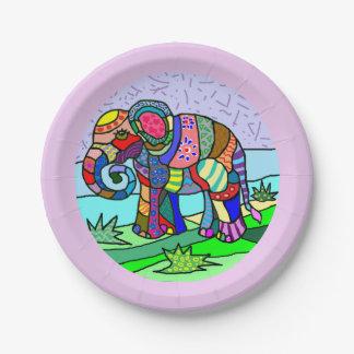 Vibrant colorful beautiful folk art elephant paper plate