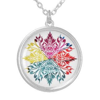 Vibrant Colorful Floral Design Pendant Necklace