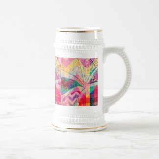 Vibrant Colorful Funky Abstract Girly Butterfly Ch 18 Oz Beer Stein