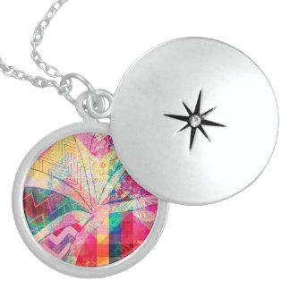 Vibrant Colorful Funky Abstract Girly Butterfly Ch Pendant