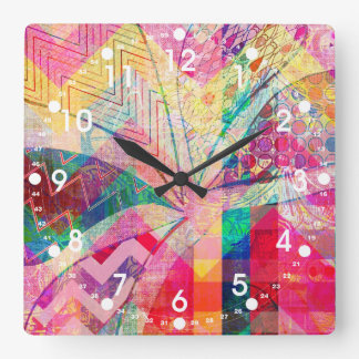 Vibrant Colorful Funky Abstract Girly Butterfly Ch Square Wall Clock