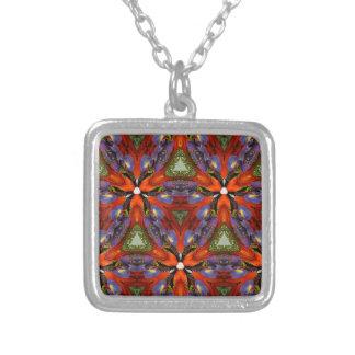 Vibrant Colorful Funky Kaleidoscope Pattern Square Pendant Necklace