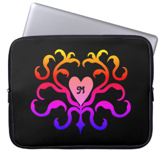Vibrant colorful heart motif laptop sleeve
