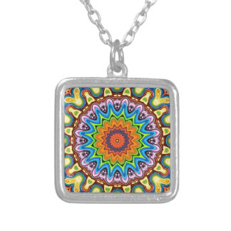 Vibrant Colorful Mandala Silver Plated Necklace