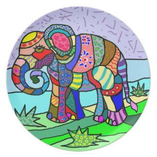 Vibrant colors artistic folcloristic elephant plate