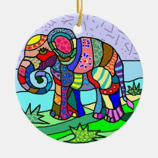 Vibrant colors folcloristic elephant painting ceramic ornament