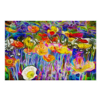 Vibrant Colors Poppy Field Art Poster