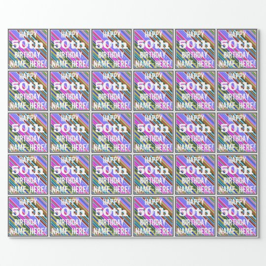 Vibrant, Colourful 50th Birthday + Custom Name Wrapping Paper