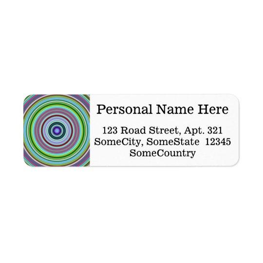 Vibrant Colourful Circles/Rings Pattern Return Address Label