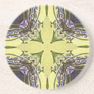 Vibrant Cool Purple Yellow Abstract Cross Beverage Coaster