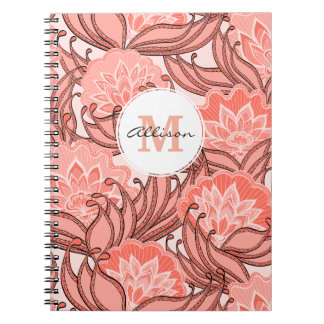 Vibrant Coral Floral Pattern Monogrammed Notebook