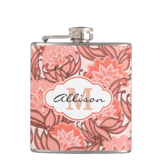 Vibrant Coral Floral Pattern Personalized Hip Flask