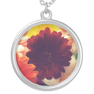 Vibrant Daisy Flower Silver Necklace Charm