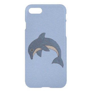 Vibrant Dark Blue Dolphin White Sparkles on Blue iPhone 8/7 Case