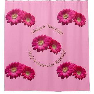 Vibrant Deep Rose Pink Gerbera Daisy Shower Curtain