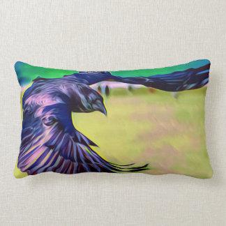 Vibrant double sided Raven art pillow