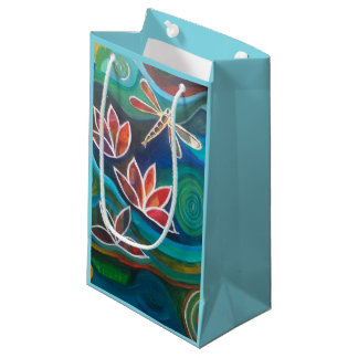 Vibrant dragonfly and waterlily design small gift bag