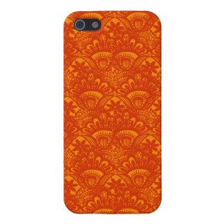Vibrant Elegant Orange Damask Lace Girly Pattern iPhone 5/5S Cases