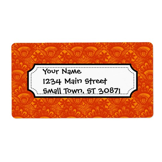Vibrant Elegant Orange Damask Lace Girly Pattern Shipping Label