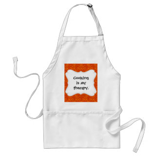 Vibrant Elegant Orange Damask Lace Girly Pattern Standard Apron