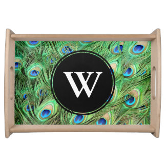 Vibrant Exotic Peacock Feathers Initial Letter Serving Tray