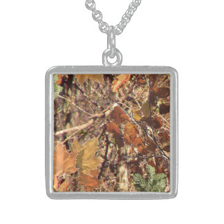 Vibrant Fall Forest Nature Camouflage Decor Square Pendant Necklace
