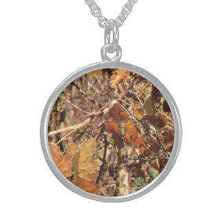 Vibrant Fall Forest Nature Camouflage Decor Sterling Silver Necklace