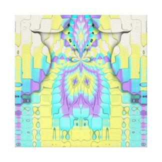Vibrant Festive Neon Pastel Abstract  Pattern Canvas Print