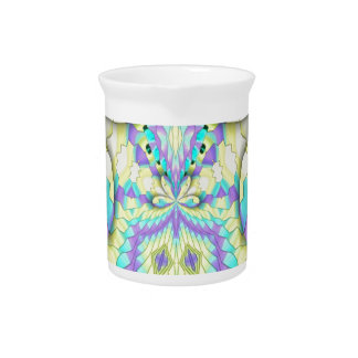 Vibrant Festive Neon Pastel Abstract  Pattern Pitcher