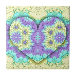 Vibrant Festive Pastel 3d Heart shaped. Tile