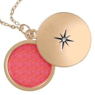 Vibrant flame pattern round locket necklace