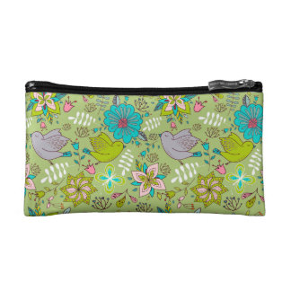Vibrant Floral and Bird Patterns Cosmetic Bag