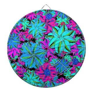 Vibrant Floral Collage Dartboard