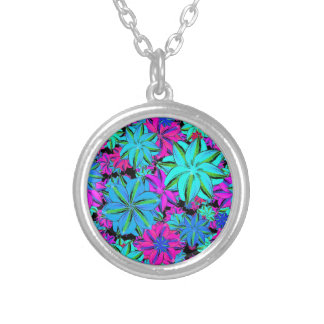 Vibrant Floral Collage Silver Plated Necklace