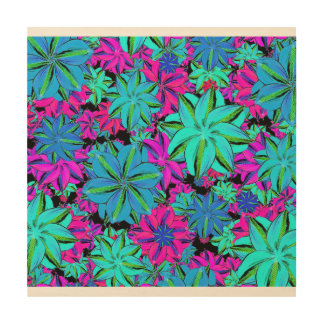 Vibrant Floral Collage Wood Wall Art
