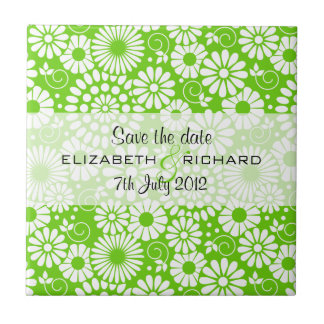 Vibrant floral green Save the date Tile