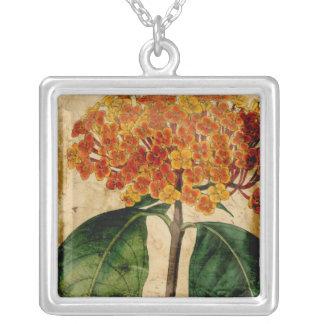 Vibrant Floral I Square Pendant Necklace