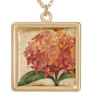 Vibrant Floral III Square Pendant Necklace