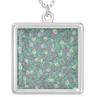 Vibrant Floral Mosaic Trendy Colorful Pattern Art Personalized Necklace