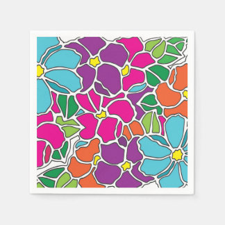 Vibrant Floral Stained Glass Disposable Serviette