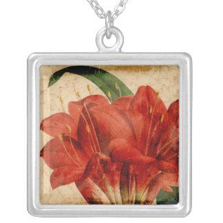 Vibrant Floral VIII Square Pendant Necklace