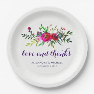 Vibrant Floral Watercolor Wedding Love and Thanks 9 Inch Paper Plate
