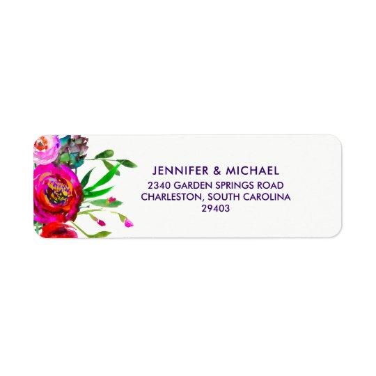 Vibrant Floral | Watercolor Wedding Return Address Label